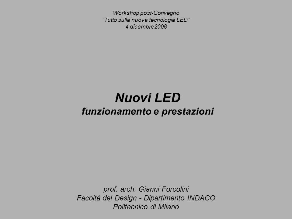 Nuovi LED funzionamento e prestazioni prof. arch. Gianni Forcolini Facoltà del Design - Dipartimento INDACO Politecnico di Milano Workshop post-Conveg