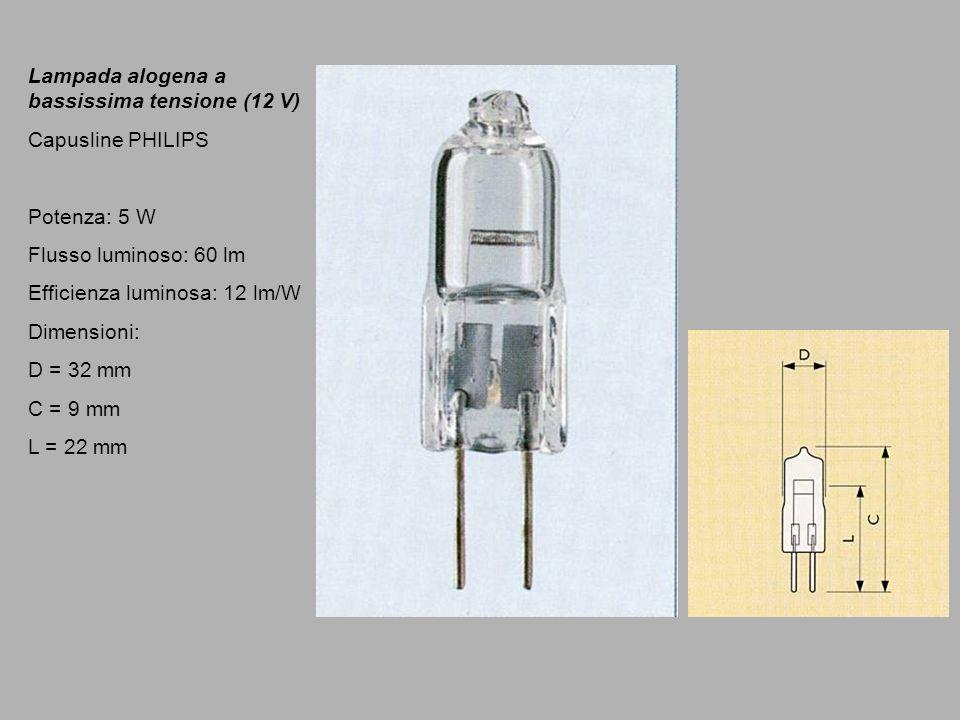 Lampada alogena a bassissima tensione (12 V) Capusline PHILIPS Potenza: 5 W Flusso luminoso: 60 lm Efficienza luminosa: 12 lm/W Dimensioni: D = 32 mm