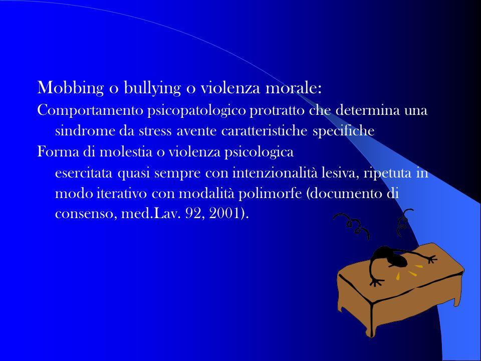 Mobbing o bullying o violenza morale: Comportamento psicopatologico protratto che determina una sindrome da stress avente caratteristiche specifiche F