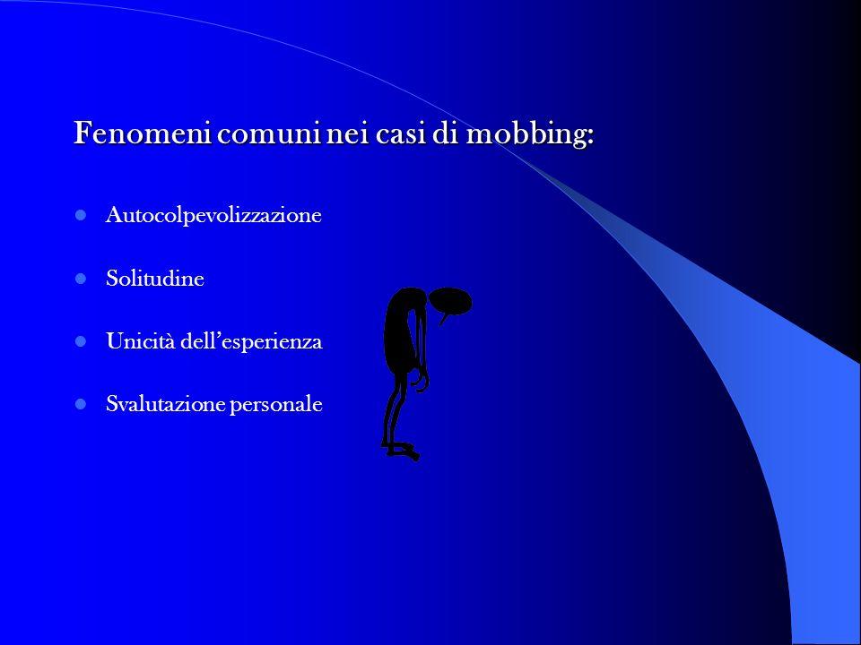 Fenomeni comuni nei casi di mobbing: Autocolpevolizzazione Solitudine Unicità dellesperienza Svalutazione personale