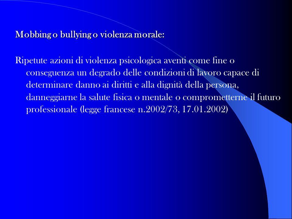 Mobbing o bullying o violenza morale: Ripetute azioni di violenza psicologica aventi come fine o conseguenza un degrado delle condizioni di lavoro cap