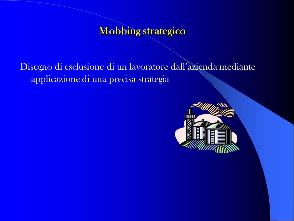 Mobbing strategico Disegno di esclusione di un lavoratore dallazienda mediante applicazione di una precisa strategia