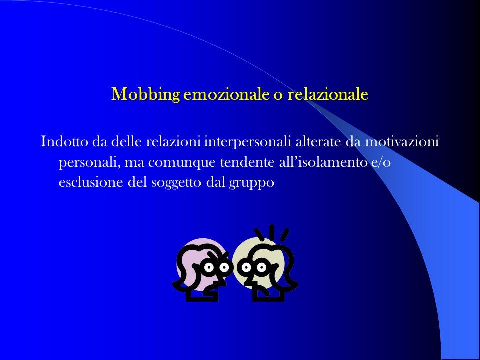 Mobbing emozionale o relazionale Indotto da delle relazioni interpersonali alterate da motivazioni personali, ma comunque tendente allisolamento e/o e