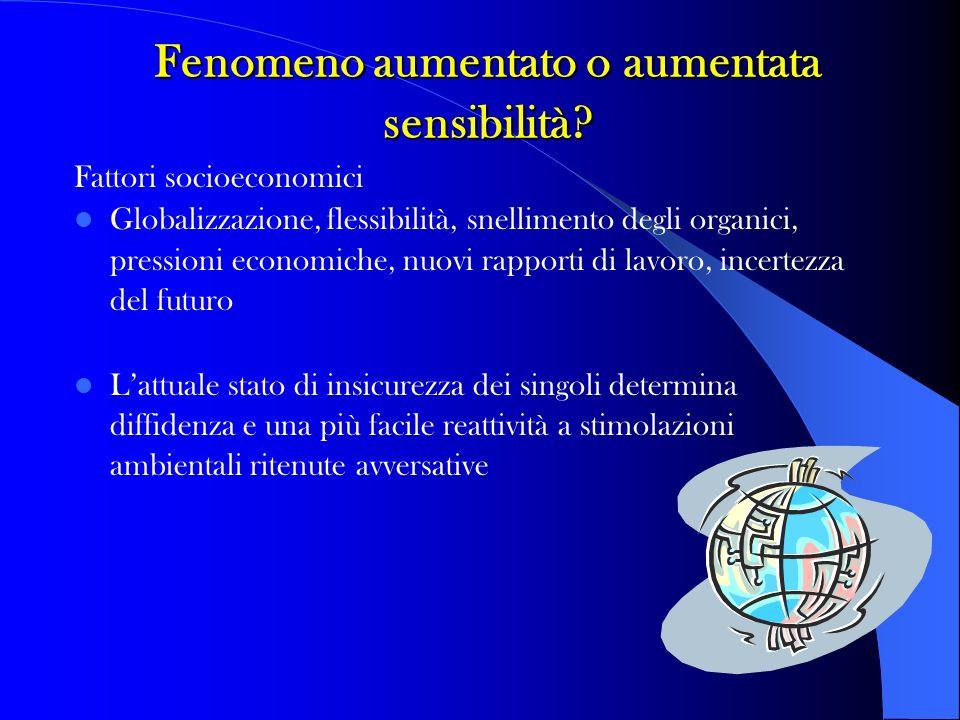 Fenomeno aumentato o aumentata sensibilità? Fattori socioeconomici Globalizzazione, flessibilità, snellimento degli organici, pressioni economiche, nu