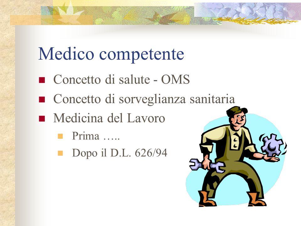 Medico competente Concetto di salute - OMS Concetto di sorveglianza sanitaria Medicina del Lavoro Prima ….. Dopo il D.L. 626/94