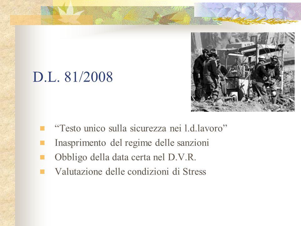 D.L. 81/2008 Testo unico sulla sicurezza nei l.d.lavoro Inasprimento del regime delle sanzioni Obbligo della data certa nel D.V.R. Valutazione delle c