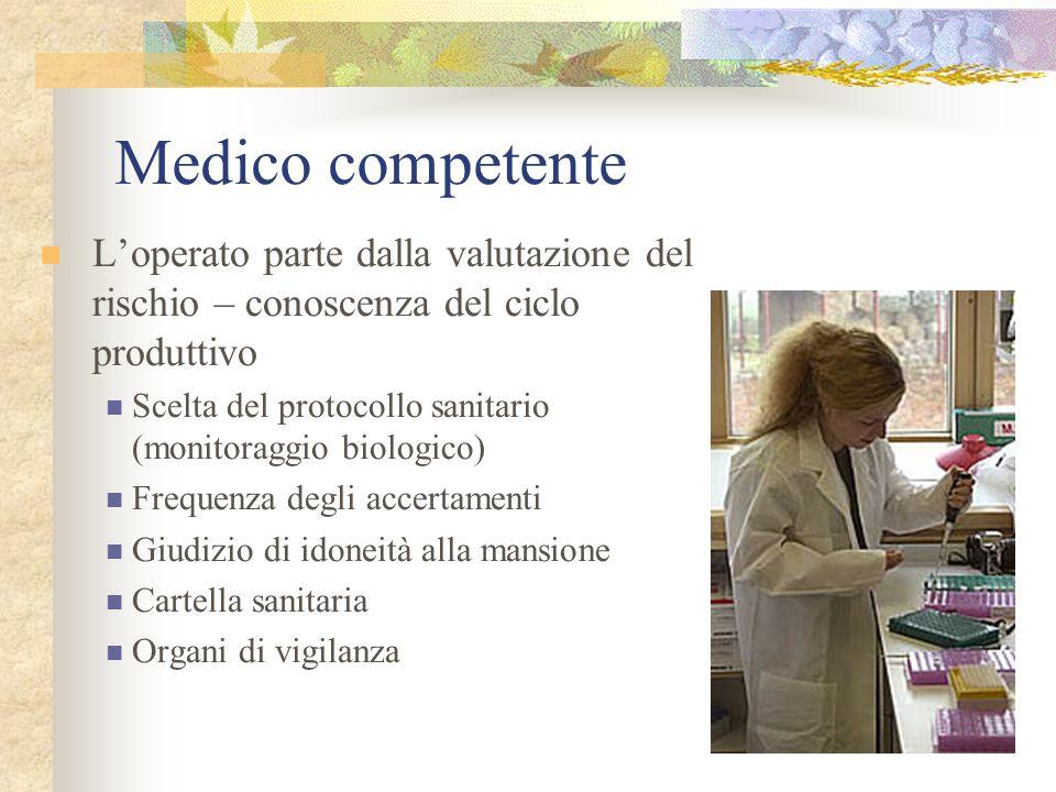 Medico competente Loperato parte dalla valutazione del rischio – conoscenza del ciclo produttivo Scelta del protocollo sanitario (monitoraggio biologi