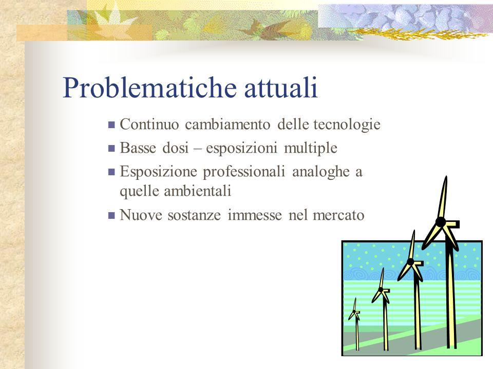 Problematiche attuali Continuo cambiamento delle tecnologie Basse dosi – esposizioni multiple Esposizione professionali analoghe a quelle ambientali N