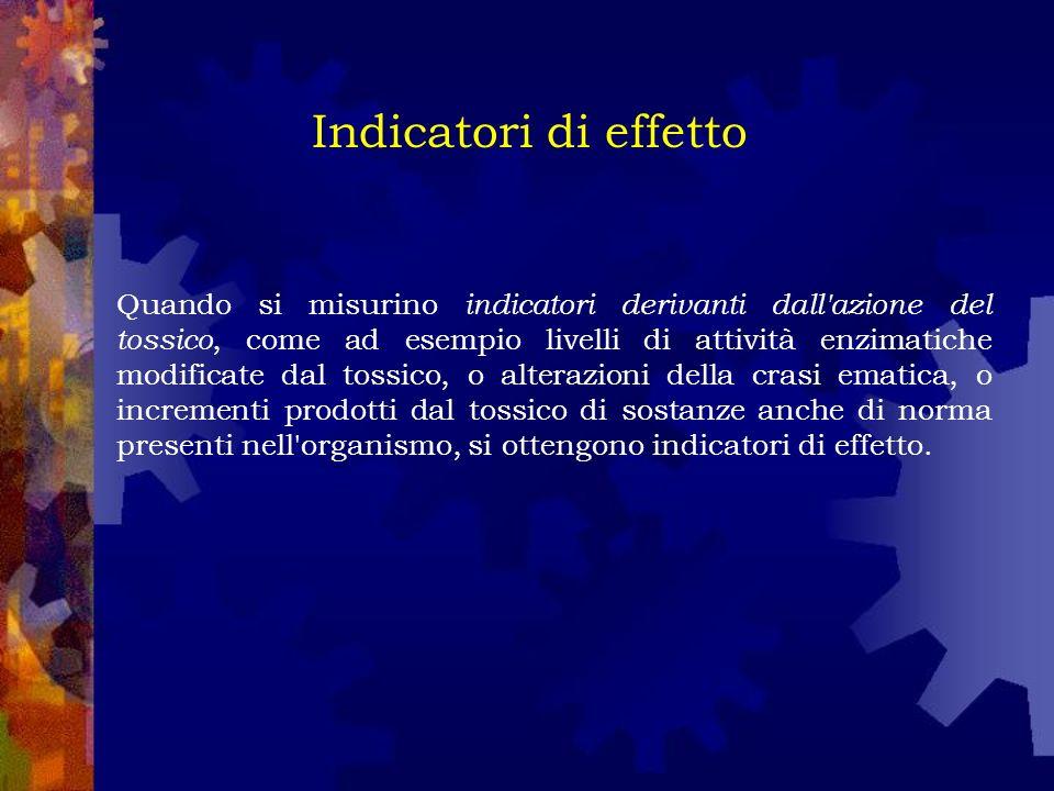Quando si misurino indicatori derivanti dall azione del tossico, come ad esempio livelli di attività enzimatiche modificate dal tossico, o alterazioni della crasi ematica, o incrementi prodotti dal tossico di sostanze anche di norma presenti nell organismo, si ottengono indicatori di effetto.
