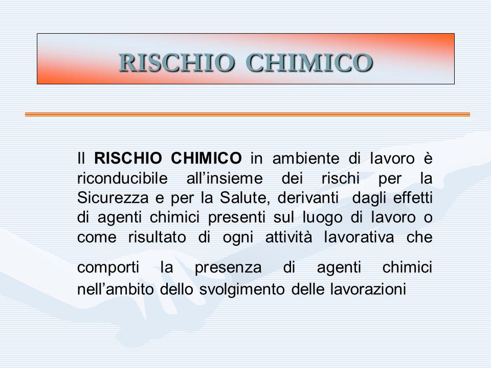 RISCHIO CHIMICO Il RISCHIO CHIMICO in ambiente di lavoro è riconducibile allinsieme dei rischi per la Sicurezza e per la Salute, derivanti dagli effet