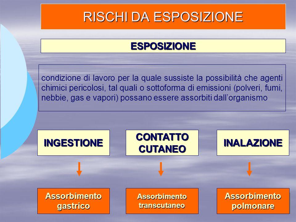 RISCHI DA ESPOSIZIONE ESPOSIZIONE condizione di lavoro per la quale sussiste la possibilità che agenti chimici pericolosi, tal quali o sottoforma di e
