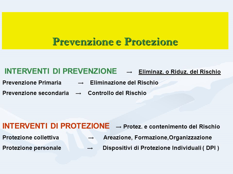 Prevenzione e Protezione Eliminaz. o Riduz. del Rischio INTERVENTI DI PREVENZIONE Eliminaz. o Riduz. del Rischio Prevenzione Primaria Eliminazione del