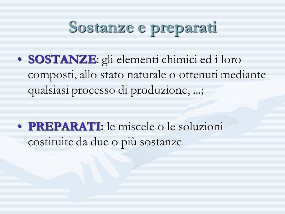 Sostanze e preparati SOSTANZE: gli elementi chimici ed i loro composti, allo stato naturale o ottenuti mediante qualsiasi processo di produzione,...;S