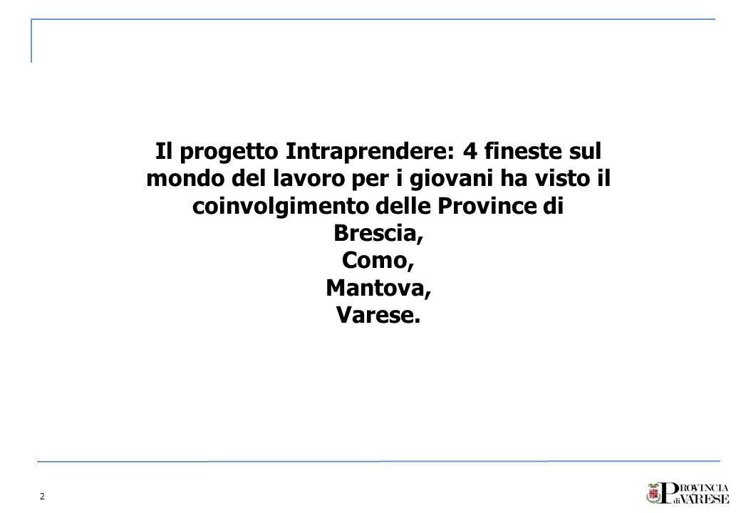 2 2 Il progetto Intraprendere: 4 fineste sul mondo del lavoro per i giovani ha visto il coinvolgimento delle Province di Brescia, Como, Mantova, Varese.