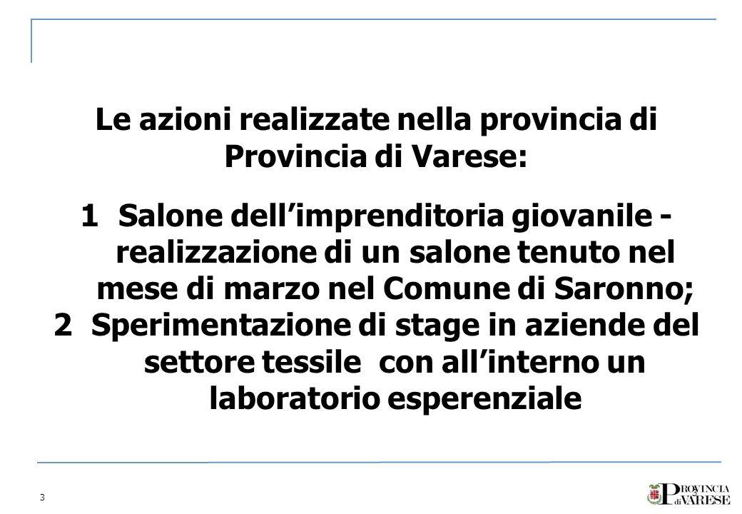 3 3 Le azioni realizzate nella provincia di Provincia di Varese: 1Salone dellimprenditoria giovanile - realizzazione di un salone tenuto nel mese di marzo nel Comune di Saronno; 2Sperimentazione di stage in aziende del settore tessile con allinterno un laboratorio esperenziale