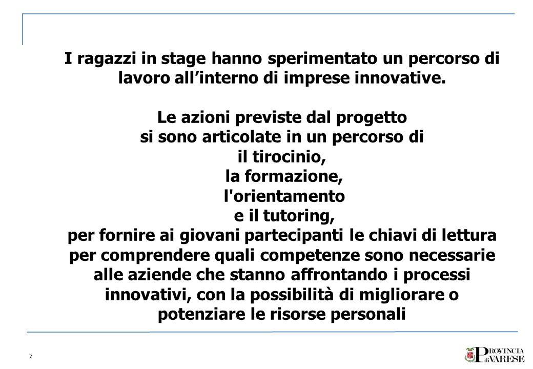 7 7 I ragazzi in stage hanno sperimentato un percorso di lavoro allinterno di imprese innovative.