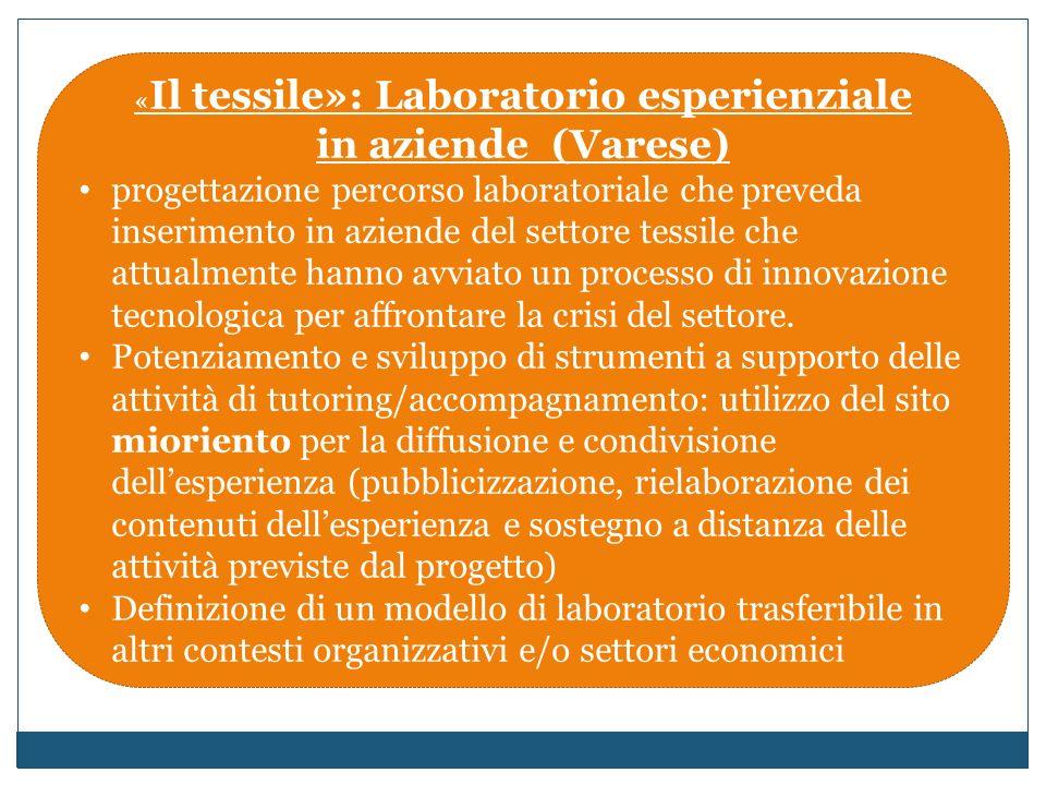 « Il tessile»: Laboratorio esperienziale in aziende (Varese) progettazione percorso laboratoriale che preveda inserimento in aziende del settore tessile che attualmente hanno avviato un processo di innovazione tecnologica per affrontare la crisi del settore.