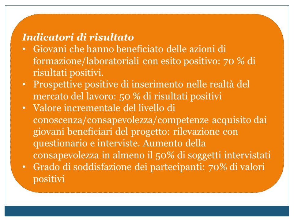 Indicatori di risultato Giovani che hanno beneficiato delle azioni di formazione/laboratoriali con esito positivo: 70 % di risultati positivi.