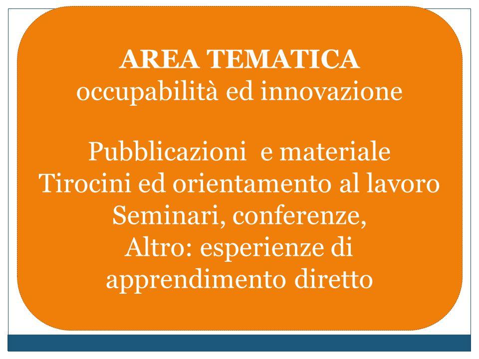 AREA TEMATICA occupabilità ed innovazione Pubblicazioni e materiale Tirocini ed orientamento al lavoro Seminari, conferenze, Altro: esperienze di apprendimento diretto