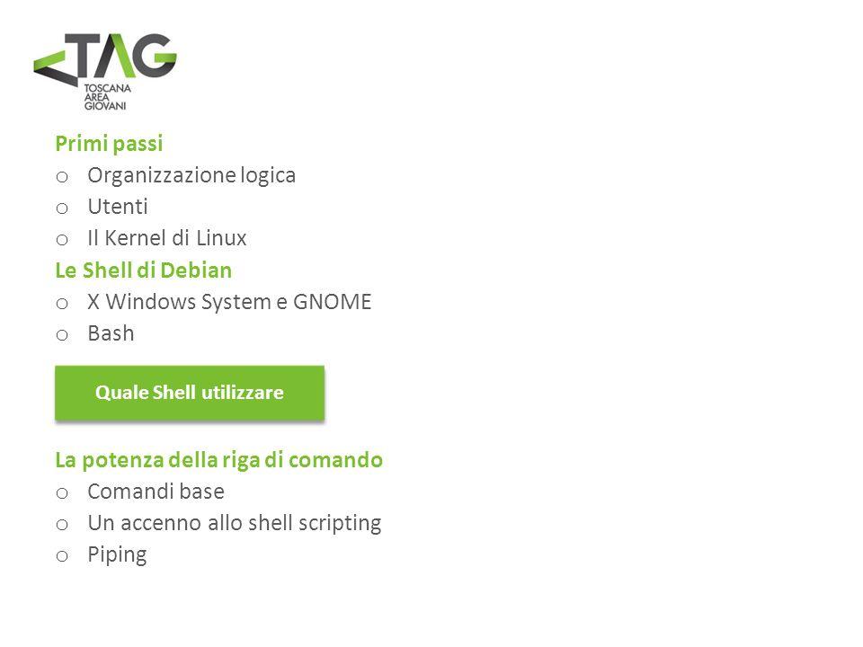 Primi passi o Organizzazione logica o Utenti o Il Kernel di Linux Le Shell di Debian o X Windows System e GNOME o Bash ? La potenza della riga di coma