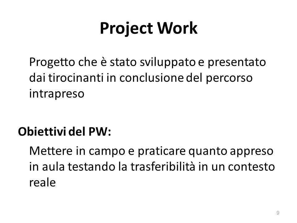 Project Work Progetto che è stato sviluppato e presentato dai tirocinanti in conclusione del percorso intrapreso Obiettivi del PW: Mettere in campo e