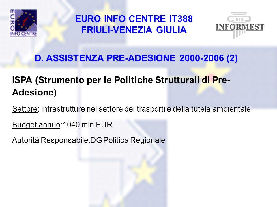 EURO INFO CENTRE IT388 FRIULI-VENEZIA GIULIA D. ASSISTENZA PRE-ADESIONE 2000-2006 (2) ISPA (Strumento per le Politiche Strutturali di Pre- Adesione) S
