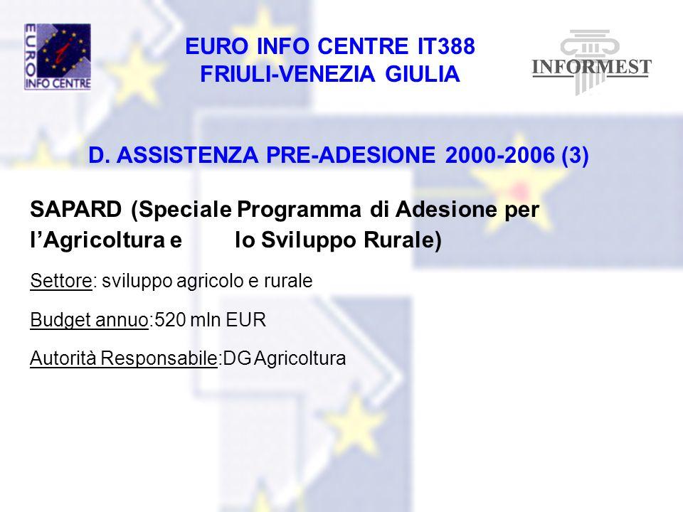 EURO INFO CENTRE IT388 FRIULI-VENEZIA GIULIA D. ASSISTENZA PRE-ADESIONE 2000-2006 (3) SAPARD (Speciale Programma di Adesione per lAgricoltura e lo Svi