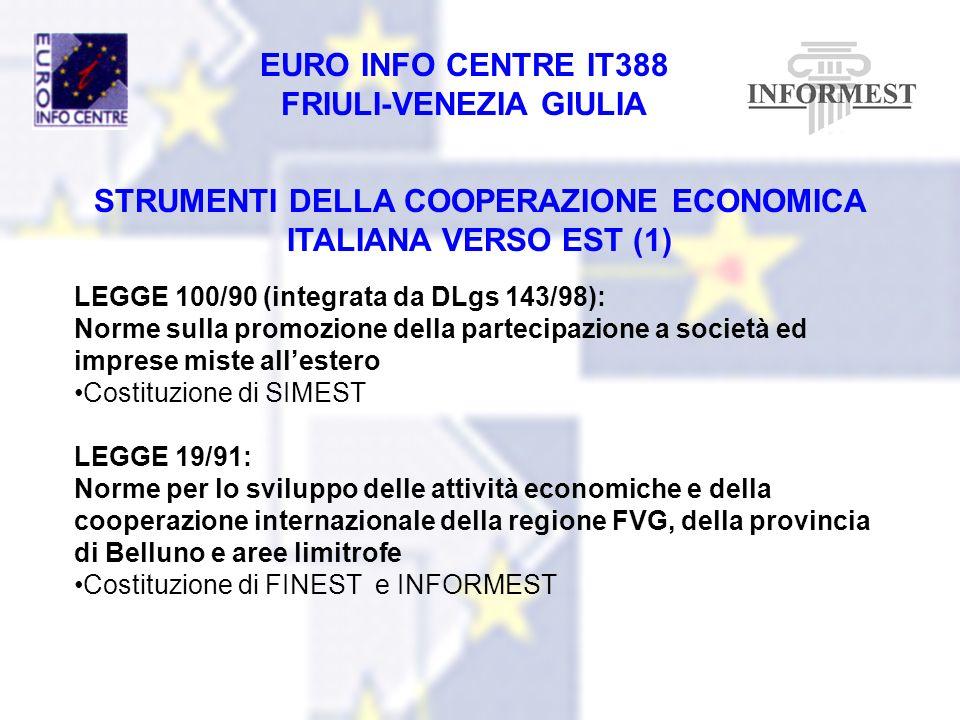EURO INFO CENTRE IT388 FRIULI-VENEZIA GIULIA STRUMENTI DELLA COOPERAZIONE ECONOMICA ITALIANA VERSO EST (1) LEGGE 100/90 (integrata da DLgs 143/98): No