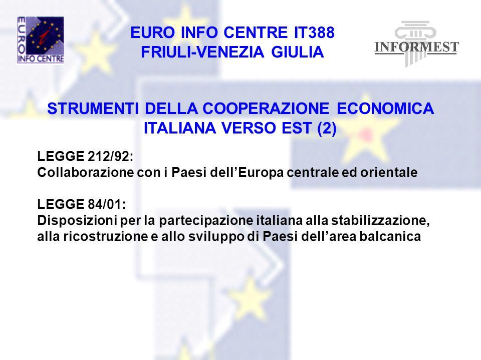 EURO INFO CENTRE IT388 FRIULI-VENEZIA GIULIA STRUMENTI DELLA COOPERAZIONE ECONOMICA ITALIANA VERSO EST (2) LEGGE 212/92: Collaborazione con i Paesi de