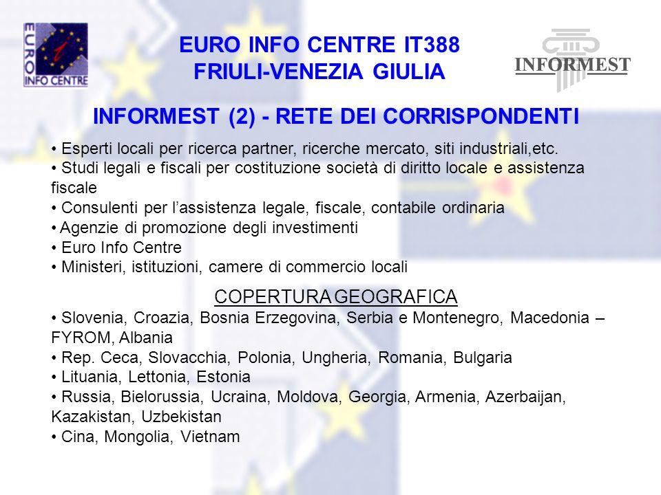EURO INFO CENTRE IT388 FRIULI-VENEZIA GIULIA INFORMEST (2) - RETE DEI CORRISPONDENTI Esperti locali per ricerca partner, ricerche mercato, siti indust