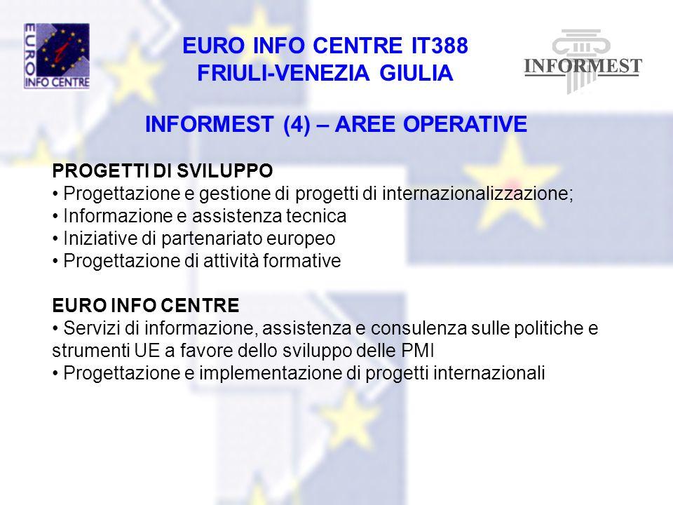 EURO INFO CENTRE IT388 FRIULI-VENEZIA GIULIA INFORMEST (4) – AREE OPERATIVE PROGETTI DI SVILUPPO Progettazione e gestione di progetti di internazional