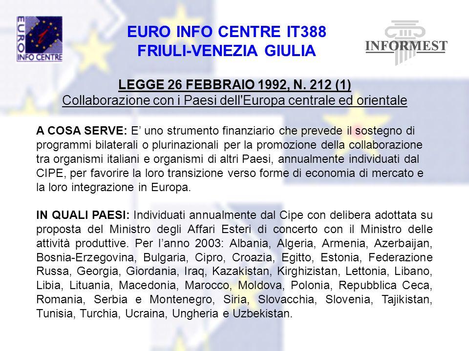 EURO INFO CENTRE IT388 FRIULI-VENEZIA GIULIA LEGGE 26 FEBBRAIO 1992, N. 212 (1) Collaborazione con i Paesi dell'Europa centrale ed orientale A COSA SE