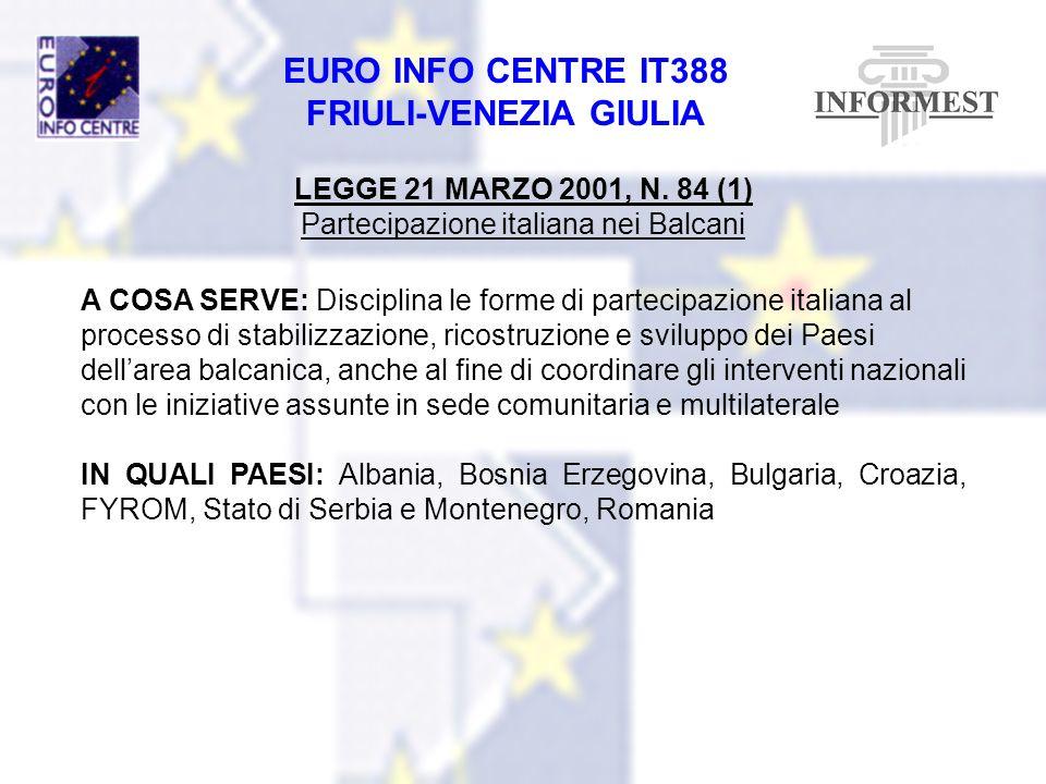 EURO INFO CENTRE IT388 FRIULI-VENEZIA GIULIA LEGGE 21 MARZO 2001, N. 84 (1) Partecipazione italiana nei Balcani A COSA SERVE: Disciplina le forme di p