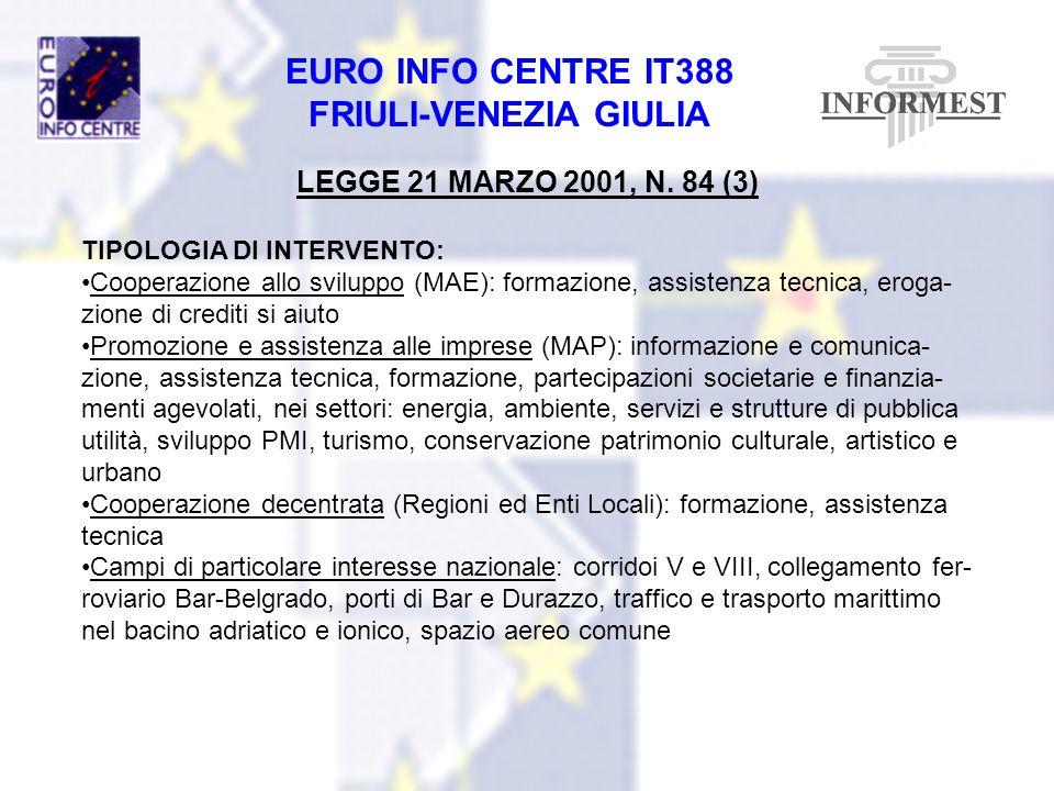 EURO INFO CENTRE IT388 FRIULI-VENEZIA GIULIA LEGGE 21 MARZO 2001, N. 84 (3) TIPOLOGIA DI INTERVENTO: Cooperazione allo sviluppo (MAE): formazione, ass