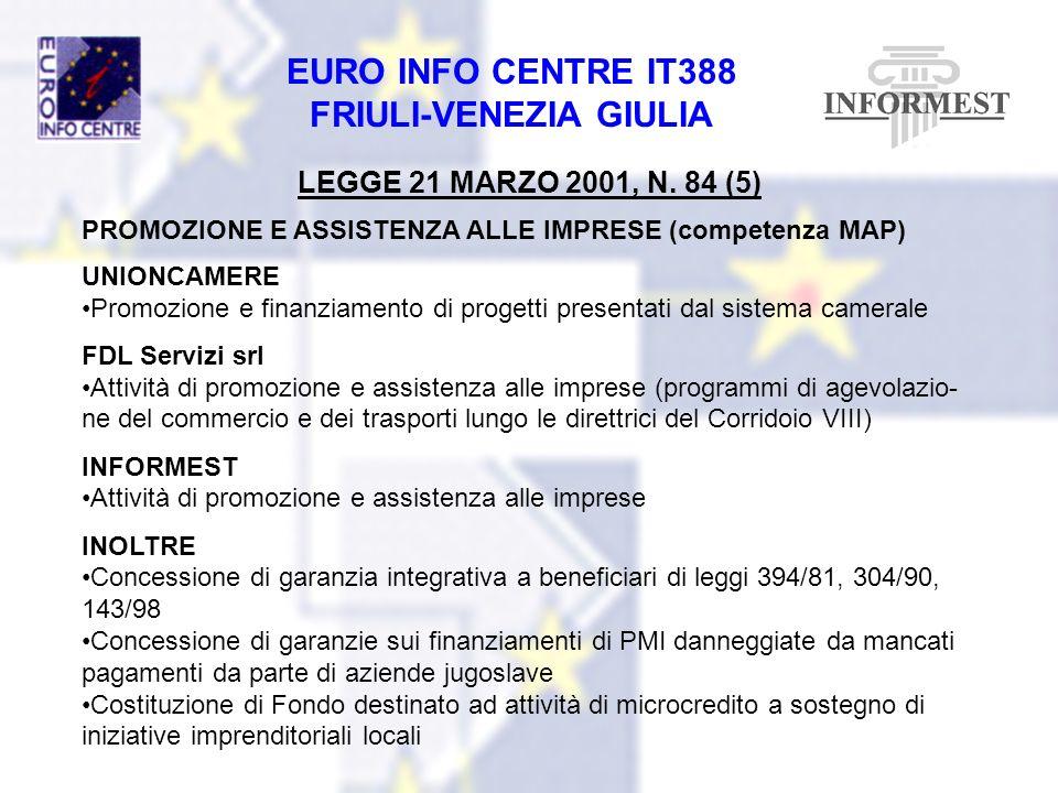 EURO INFO CENTRE IT388 FRIULI-VENEZIA GIULIA LEGGE 21 MARZO 2001, N. 84 (5) PROMOZIONE E ASSISTENZA ALLE IMPRESE (competenza MAP) UNIONCAMERE Promozio