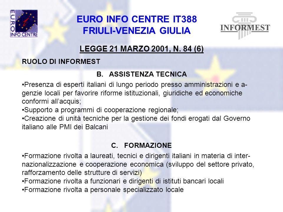 EURO INFO CENTRE IT388 FRIULI-VENEZIA GIULIA LEGGE 21 MARZO 2001, N. 84 (6) RUOLO DI INFORMEST B. ASSISTENZA TECNICA Presenza di esperti italiani di l