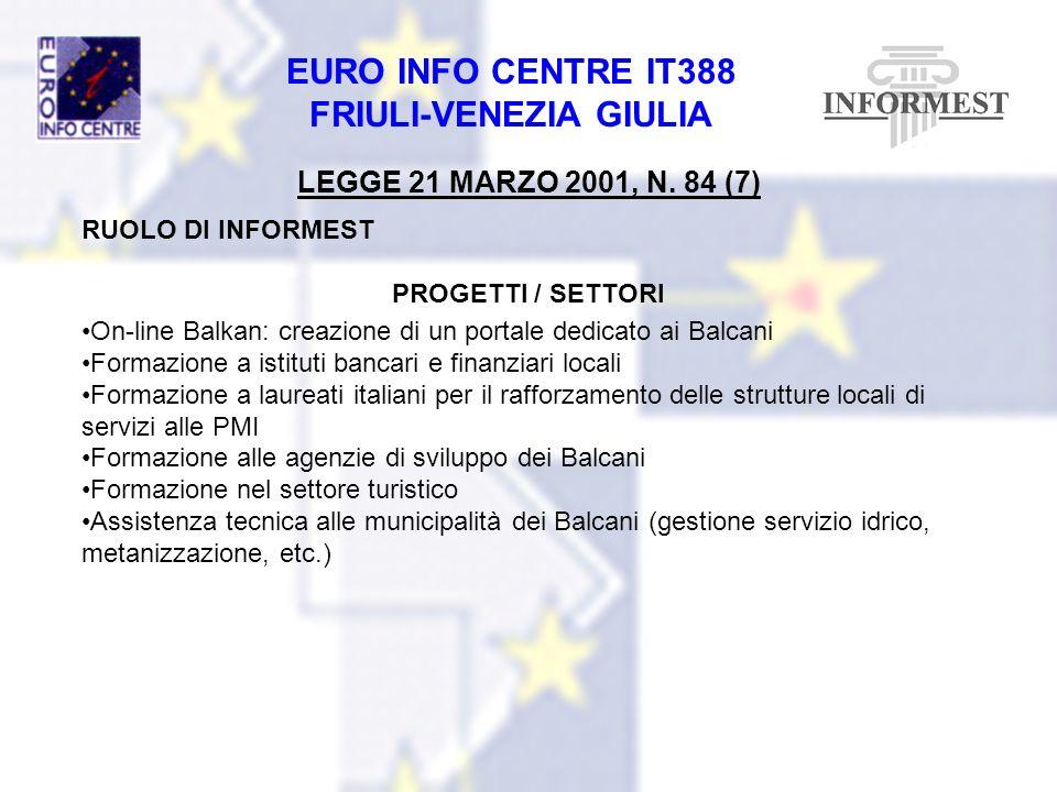 EURO INFO CENTRE IT388 FRIULI-VENEZIA GIULIA LEGGE 21 MARZO 2001, N. 84 (7) RUOLO DI INFORMEST PROGETTI / SETTORI On-line Balkan: creazione di un port