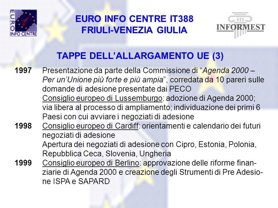 EURO INFO CENTRE IT388 FRIULI-VENEZIA GIULIA TAPPE DELLALLARGAMENTO UE (3) 1997Presentazione da parte della Commissione di Agenda 2000 – Per unUnione