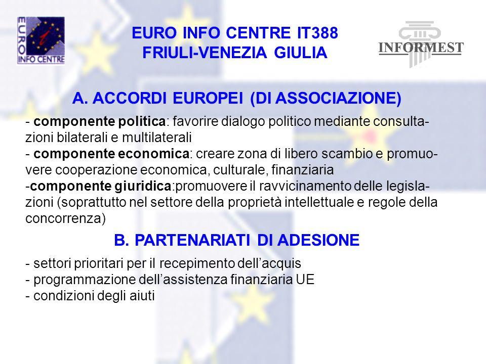 EURO INFO CENTRE IT388 FRIULI-VENEZIA GIULIA A. ACCORDI EUROPEI (DI ASSOCIAZIONE) - componente politica: favorire dialogo politico mediante consulta-
