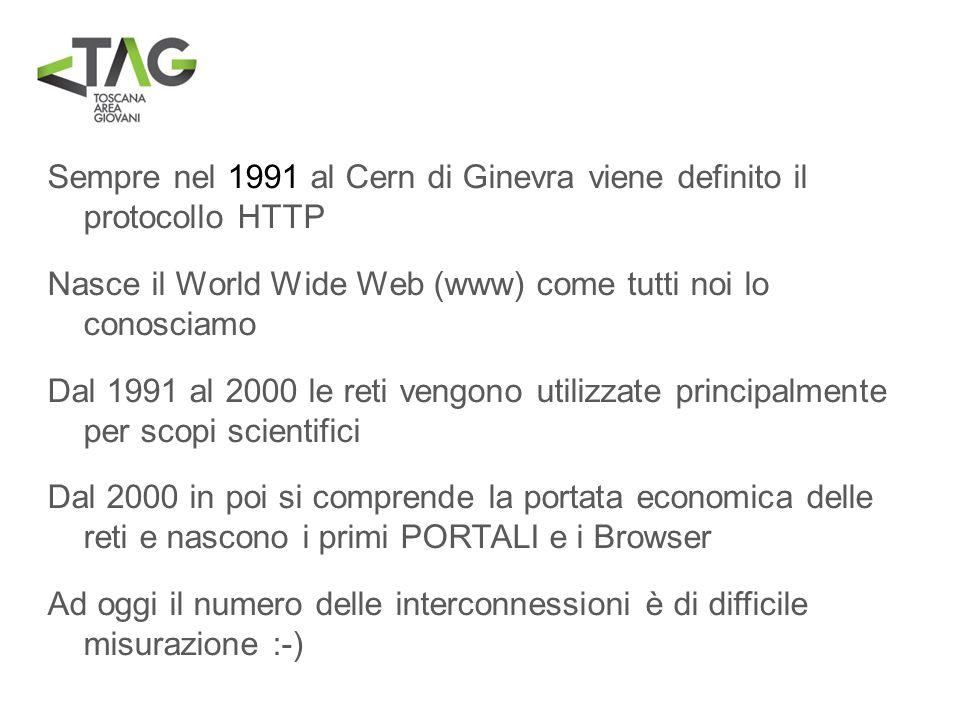 Sempre nel 1991 al Cern di Ginevra viene definito il protocollo HTTP Nasce il World Wide Web (www) come tutti noi lo conosciamo Dal 1991 al 2000 le re