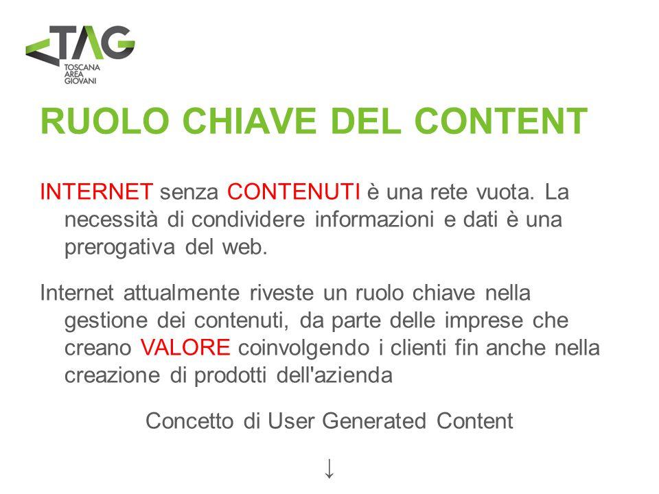 RUOLO CHIAVE DEL CONTENT INTERNET senza CONTENUTI è una rete vuota. La necessità di condividere informazioni e dati è una prerogativa del web. Interne