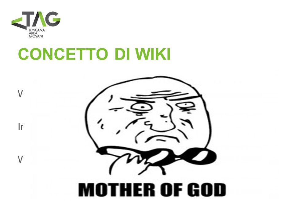 CONCETTO DI WIKI Wiki deriva da un termine in lingua hawaiiana che significa