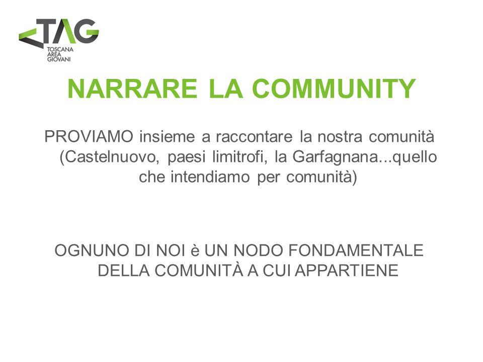 NARRARE LA COMMUNITY PROVIAMO insieme a raccontare la nostra comunità (Castelnuovo, paesi limitrofi, la Garfagnana...quello che intendiamo per comunit