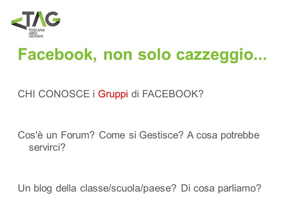 Facebook, non solo cazzeggio... CHI CONOSCE i Gruppi di FACEBOOK? Cos'è un Forum? Come si Gestisce? A cosa potrebbe servirci? Un blog della classe/scu