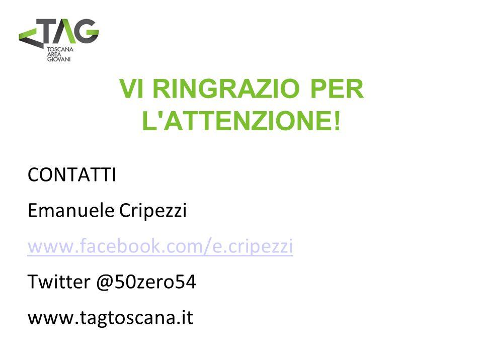 VI RINGRAZIO PER L'ATTENZIONE! CONTATTI Emanuele Cripezzi www.facebook.com/e.cripezzi Twitter @50zero54 www.tagtoscana.it