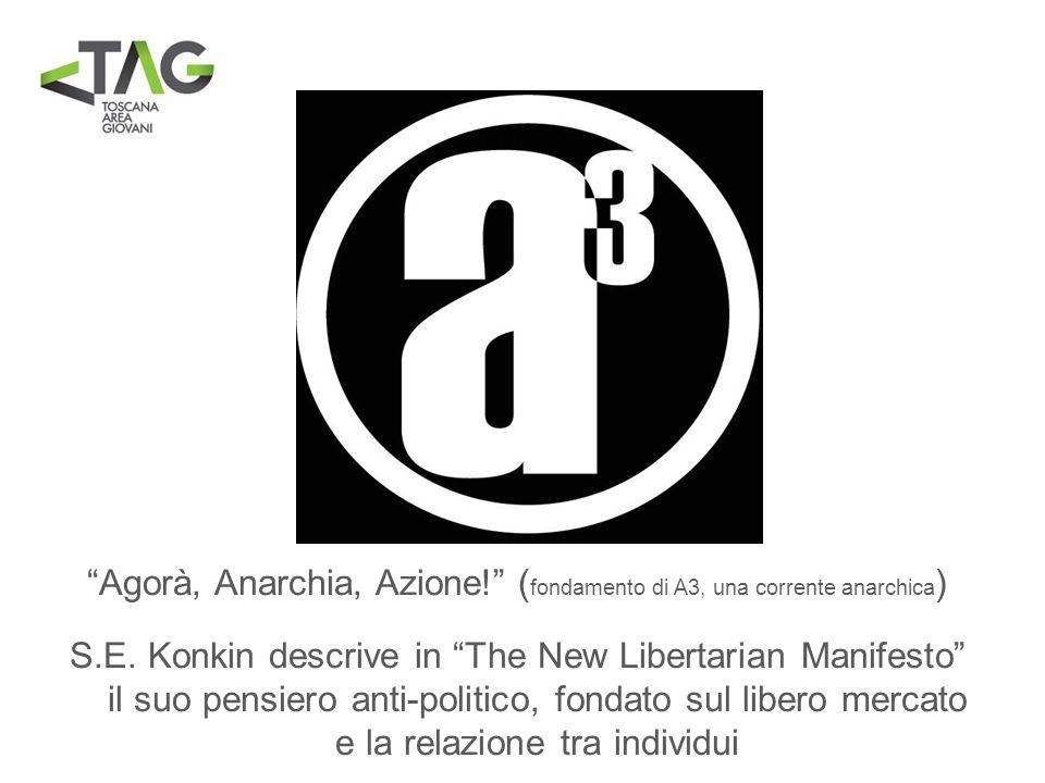 Agorà, Anarchia, Azione! ( fondamento di A3, una corrente anarchica ) S.E. Konkin descrive in The New Libertarian Manifesto il suo pensiero anti-polit
