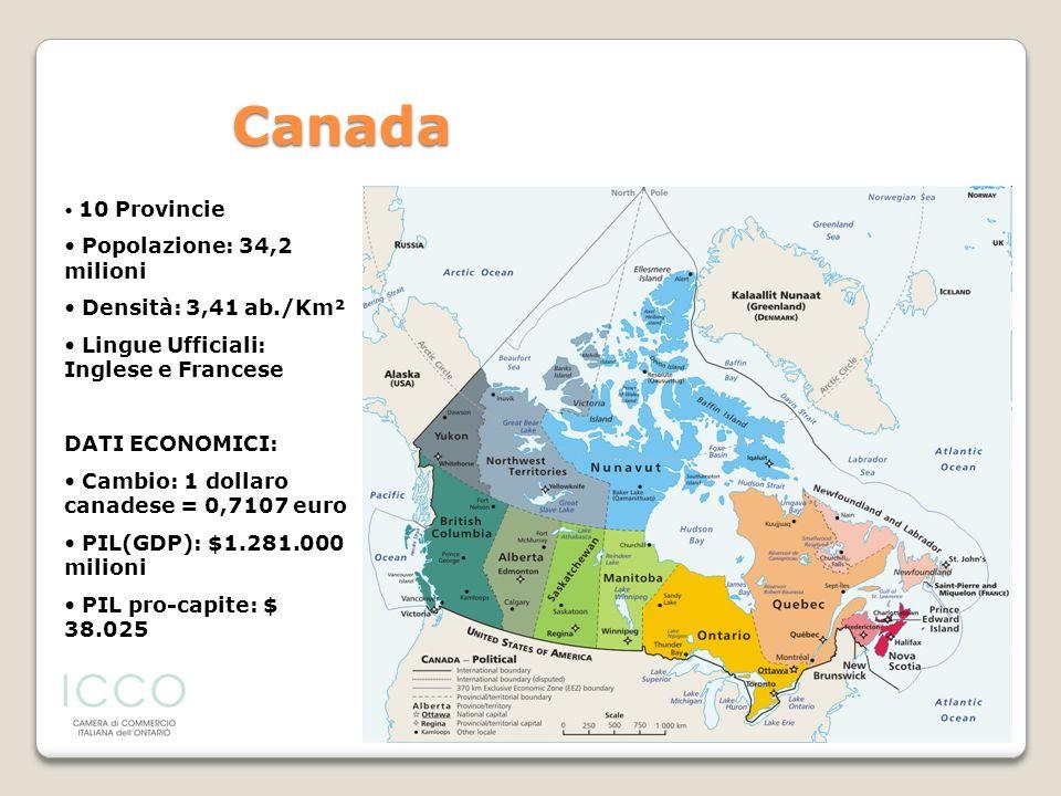 10 Provincie Popolazione: 34,2 milioni Densità: 3,41 ab./Km² Lingue Ufficiali: Inglese e Francese DATI ECONOMICI: Cambio: 1 dollaro canadese = 0,7107