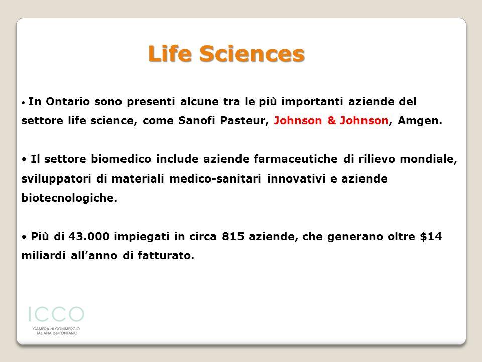 In Ontario sono presenti alcune tra le più importanti aziende del settore life science, come Sanofi Pasteur, Johnson & Johnson, Amgen. Il settore biom