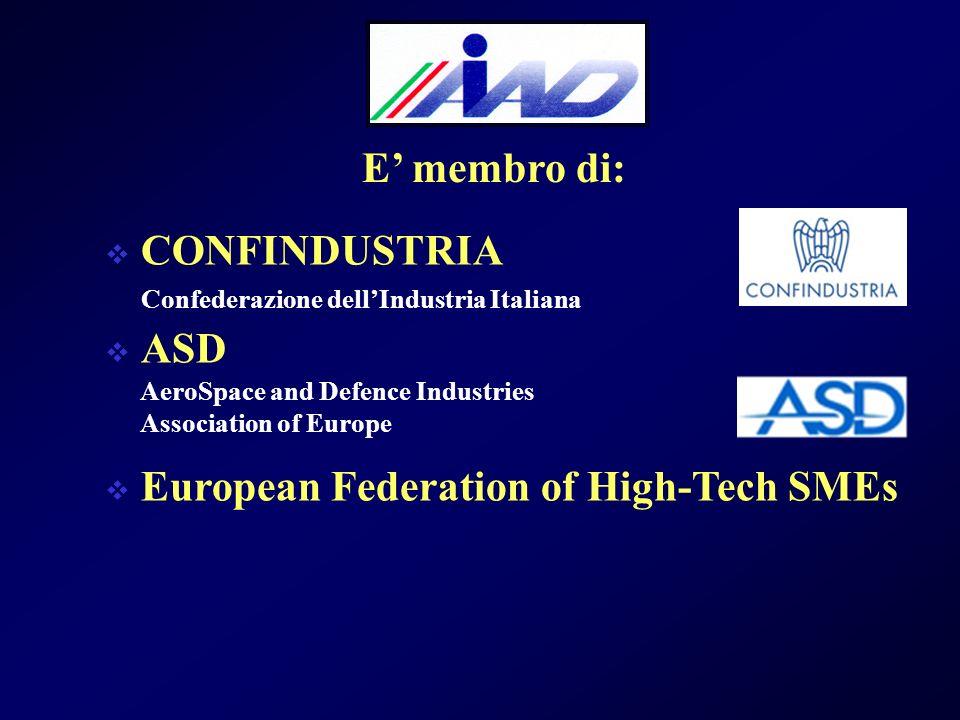 CONFINDUSTRIA ASD European Federation of High-Tech SMEs Confederazione dellIndustria Italiana E membro di: AeroSpace and Defence Industries Association of Europe