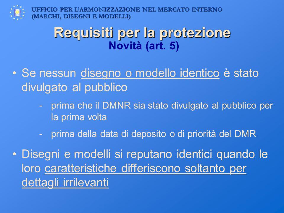 UFFICIO PER LARMONIZZAZIONE NEL MERCATO INTERNO (MARCHI, DISEGNI E MODELLI) Requisiti per la protezione Requisiti per la protezione Novità (art. 5) Se